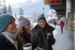 Banff Avenue shoppers in Winter