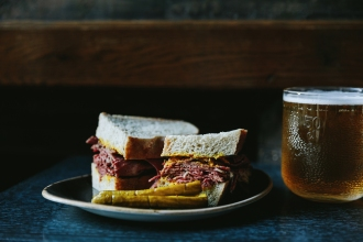Montreal Smoked Meat Sandwich and local draught beer
