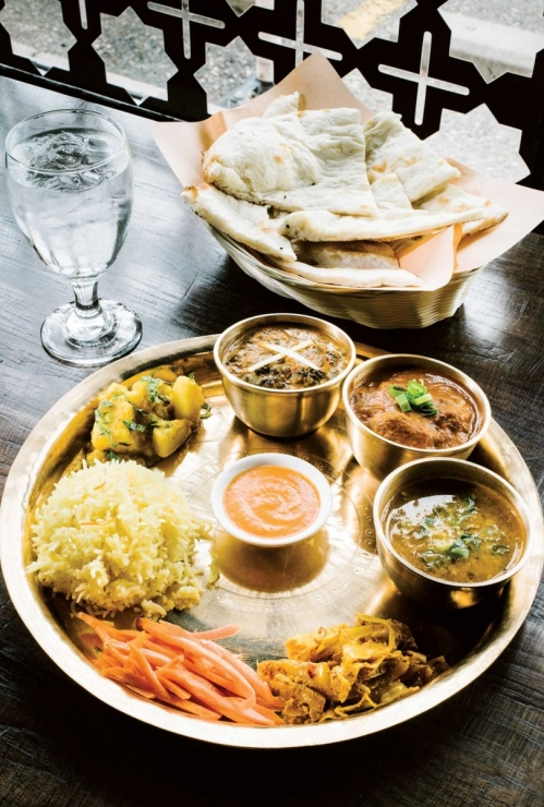 Dhal Bat - a multi-dish meal from The Himalayan restaurant in Calgary