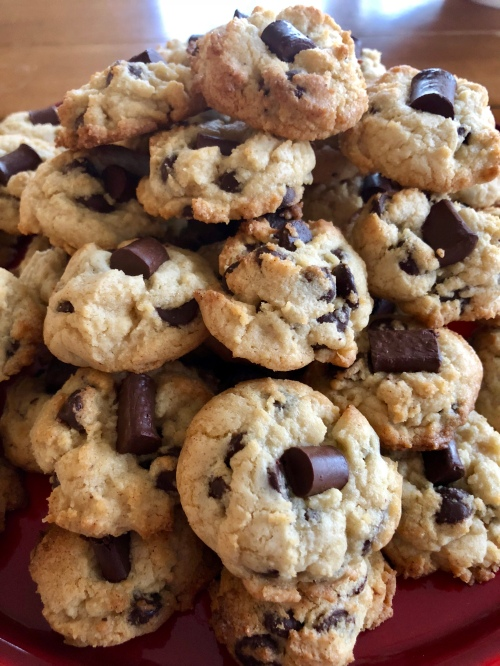 whole plate of chocolate chip cookies