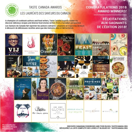 poster with all the 2018 Taste Canada award winners