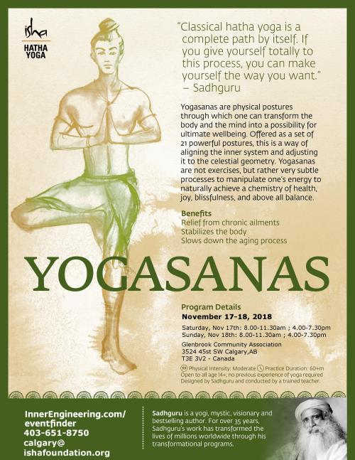Yoga poster for Isha Yogasanas workshop in Calgary November 17-18, 2018