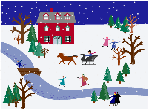 folk art Christmas village