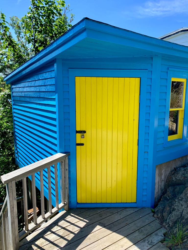 brightly painted shed - photo by Karen Anderson
